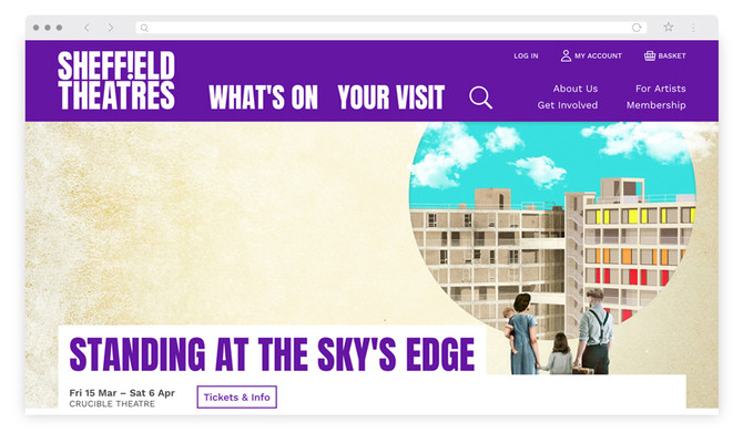 Sheffield Theatre's website homepage – March 2019 – with Standing at the Sky's Edge promo