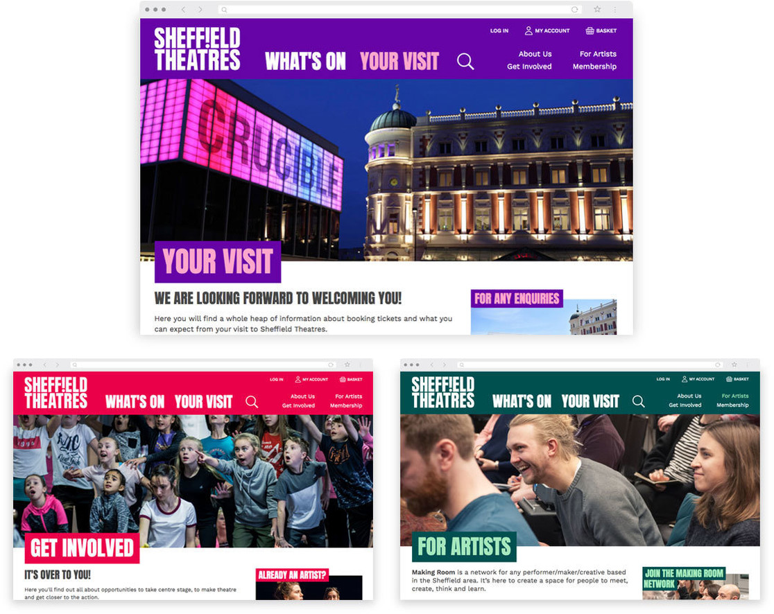 The Your Visit, Get Involved and For Artists pages on Sheffield Theatres' website