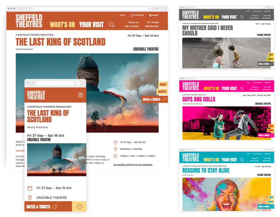 Desktop and mobile views of The Last King of Scotland page, with 3x other show pages shown smaller; highlighting the different colour palettes of each